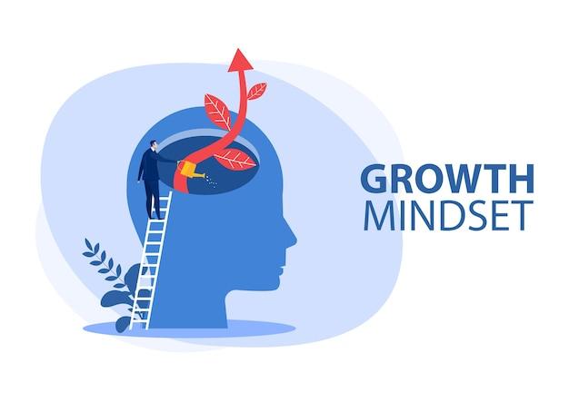 Hombre de negocios regar las plantas con un gran concepto de mentalidad de crecimiento cerebral