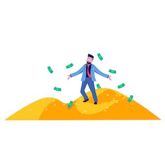 Hombre de negocios ricos dibujos animados de pie en la montaña de monedas de oro ilustración plana
