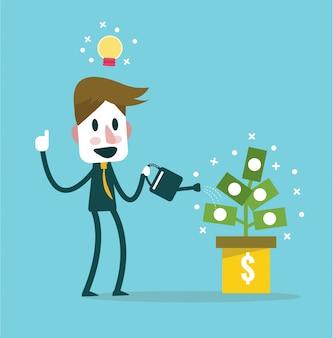 Hombre de negocios riego vector planta de dinero. idea y concepto de ingresos. elementos de diseño planos. ilustración vectorial