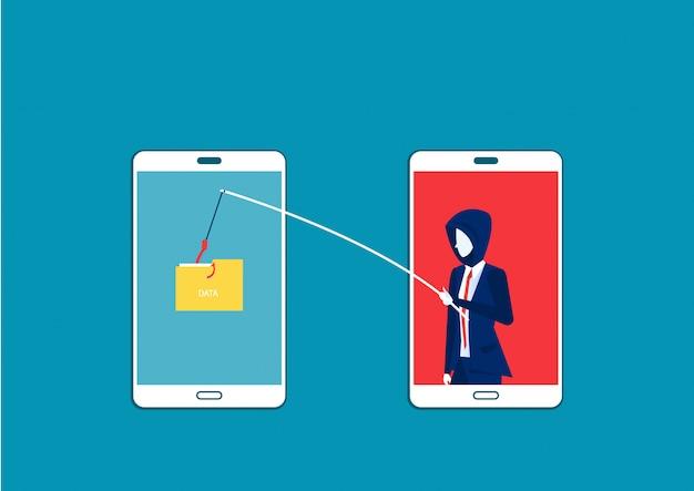 Hombre de negocios robar datos, ataque de piratas informáticos en la ilustración de vector de teléfono inteligente. ataque de piratas informáticos a datos, phishing y delitos de piratería