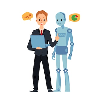 Hombre de negocios y robot android mirando portátil hablando de gráficos gráficos