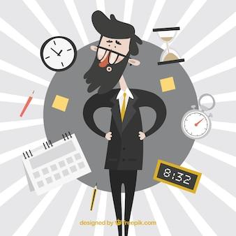 Hombre de negocios rodeado de relojes