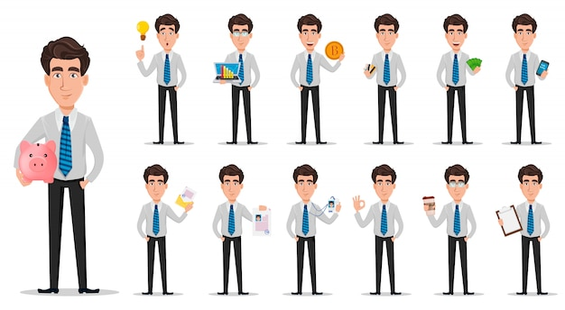 El hombre de negocios en ropa del estilo de la oficina fijó de trece actitudes.