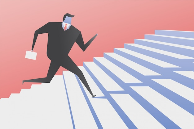 Hombre de negocios run up the stairs.