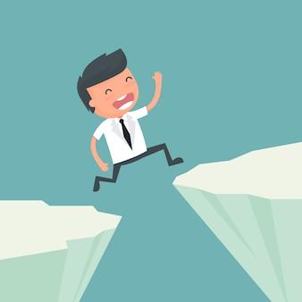 El hombre de negocios salta las rocas del riesgo comercial para la ilustración del éxito