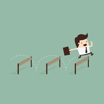 Hombre de negocios saltando obstáculos