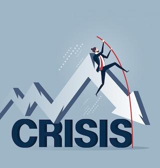 Hombre de negocios salto con pértiga sobre crisis en concepto de negocio