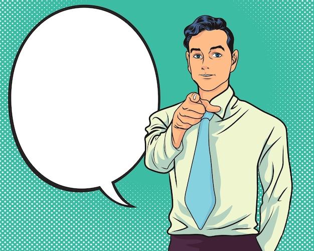 Hombre de negocios, señalar, dedo, en, usted, charlar, burbuja, arte pop, colorido, estilo retro