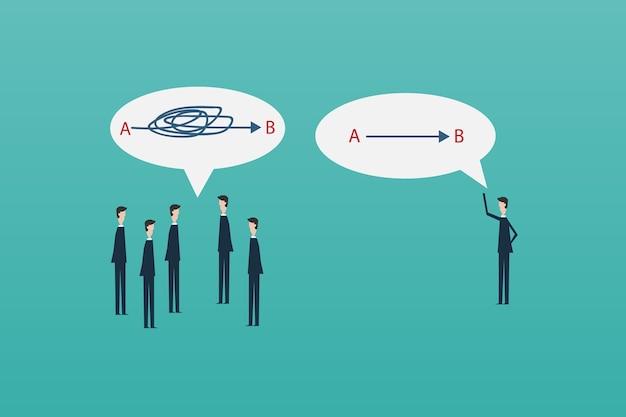 Hombre de negocios senderos rectas y complicadas. problema, solución y concepto de elección.