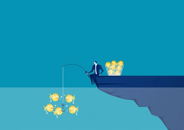 Hombre de negocios sentado en el borde del acantilado con caña de pescar con un dólar ilustración vectorial creativa para negocios y concepto de finanzas.