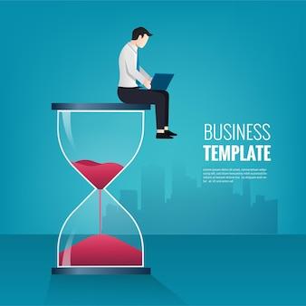 Hombre de negocios sentado en reloj de arena y trabajar con su computadora portátil. ilustración de productividad y gestión del tiempo.
