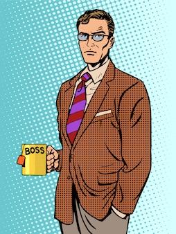 Hombre de negocios serio jefe taza té
