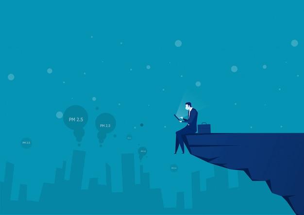El hombre de negocios se sienta en la montaña para verificar el clima pm 2.5 ilustración