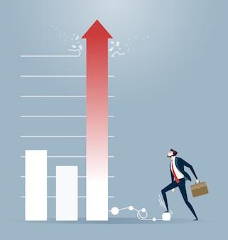 El hombre de negocios sigue inflando un diagrama. concepto del mercado de valores