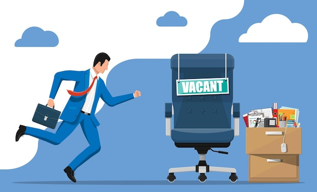 Hombre de negocios, silla de oficina con letrero vacante y armario lleno de artículos de oficina. contratación y reclutamiento. gestión de recursos humanos, búsqueda de personal profesional, trabajo, hoja de vida. ilustración vectorial plana