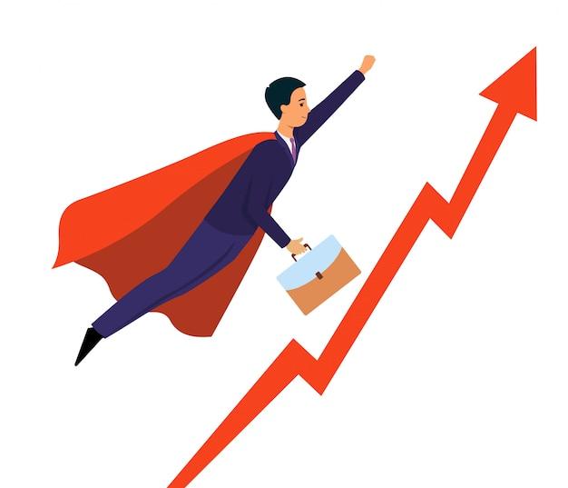 Hombre de negocios sobrevolando la flecha apuntando hacia arriba como una ilustración de superhéroe.
