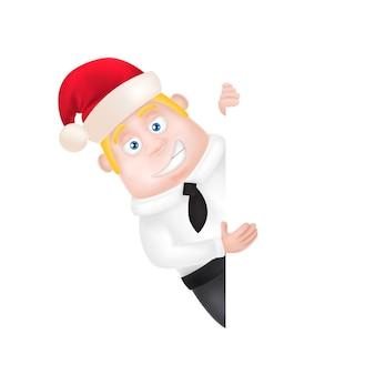 Hombre de negocios en sombrero de navidad