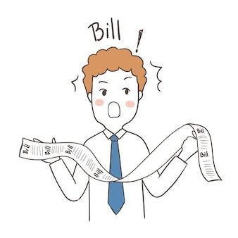 Hombre de negocios sorprendido de proyecto de ley en la mano