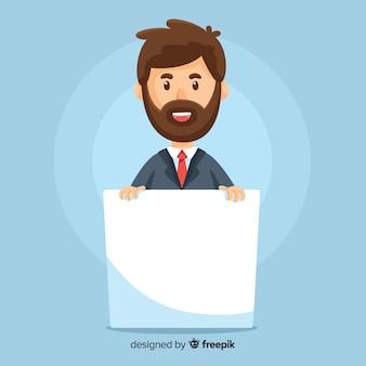 Hombre de negocios sosteniendo banner en blanco
