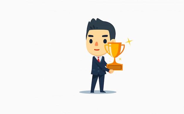 Un hombre de negocios está sosteniendo un trofeo de oro. ilustración vectorial