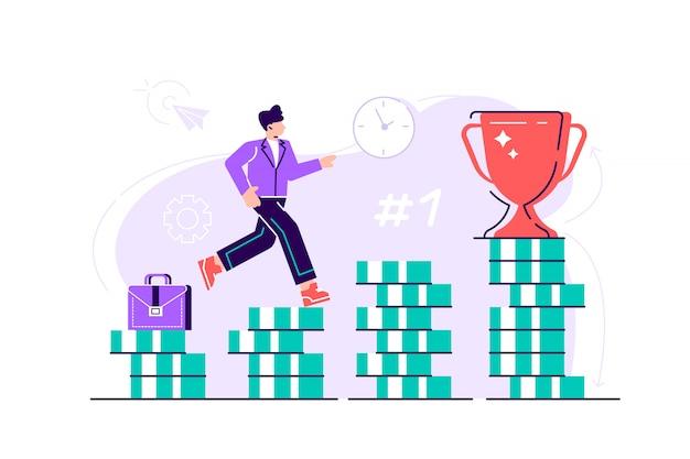 Hombre de negocios está subiendo escaleras de pilas de monedas hacia su objetivo financiero. inversión personal y concepto de ahorro de pensiones. ilustración de diseño moderno de estilo plano para página web, tarjetas.