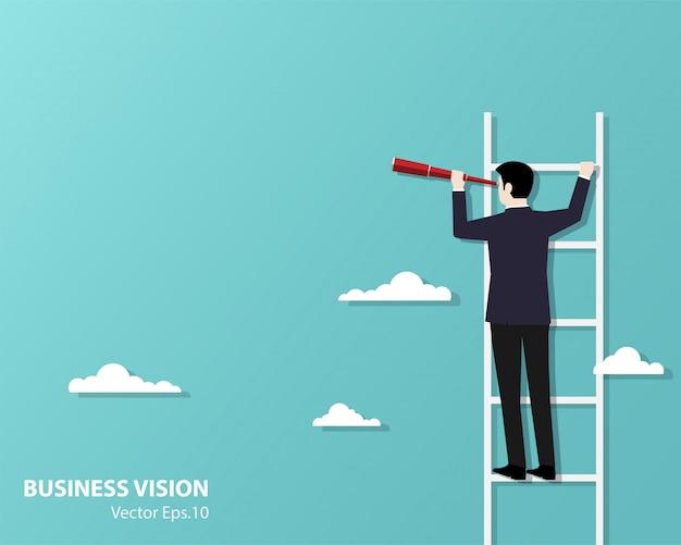 Hombre de negocios subiendo escaleras uso binocular en busca de éxito