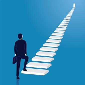 Hombre de negocios subir escalera de éxito. puerta abierta en la parte superior