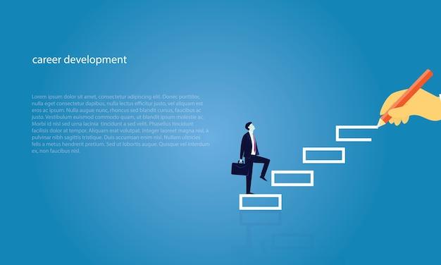 Hombre de negocios subir escalera de éxito
