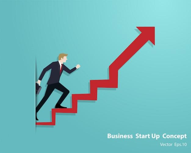 Hombre de negocios subir en la escalera de la flecha ir al éxito