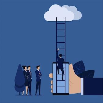Hombre de negocios subir escalera a la nube desde el teléfono móvil metáfora de mantenerse conectado con nosotros.