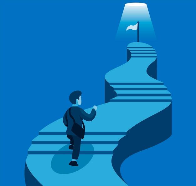 Hombre de negocios subir escaleras a la meta. desarrollo de la carrera empresarial en la ilustración de dibujos animados