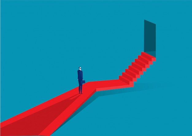 Hombre de negocios subir las escaleras hasta la puerta del éxito
