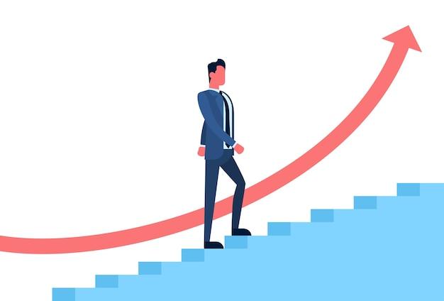 Hombre de negocios subir escaleras símbolo de éxito financiero flecha roja