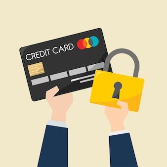 Hombre de negocios con tarjeta de crédito y protección