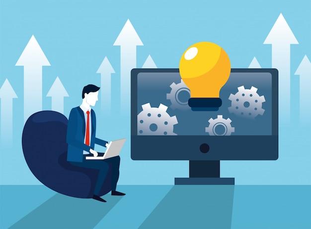 Hombre de negocios con tecnología portátil y computadora con bombilla idea