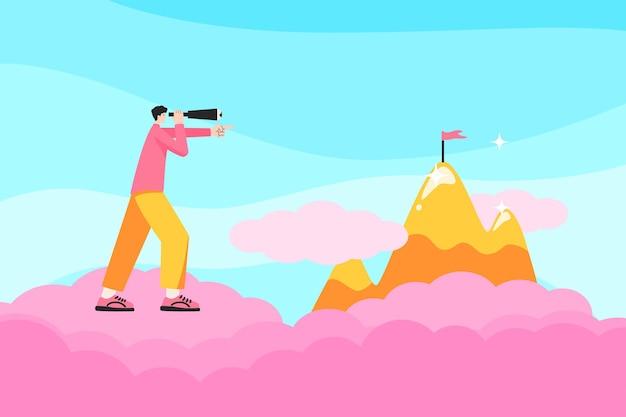 Hombre de negocios con un telescopio observa un objetivo en la cima de una ilustración de vector de montaña