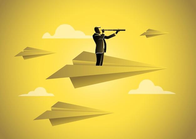Un hombre de negocios con telescopio volando en avión de papel, oportunidad, visión en los negocios. ilustración del concepto de negocio