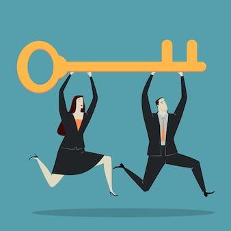 Hombre de negocios, tenencia, llave
