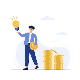 Un hombre de negocios tiene una idea con una moneda de oro en la mano.
