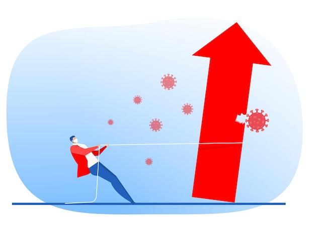 El hombre de negocios tira de la cuerda hacia arriba la flecha del gráfico sobre el virus de la corona o el concepto de crisis del covid 19 diseño plano vectorial.