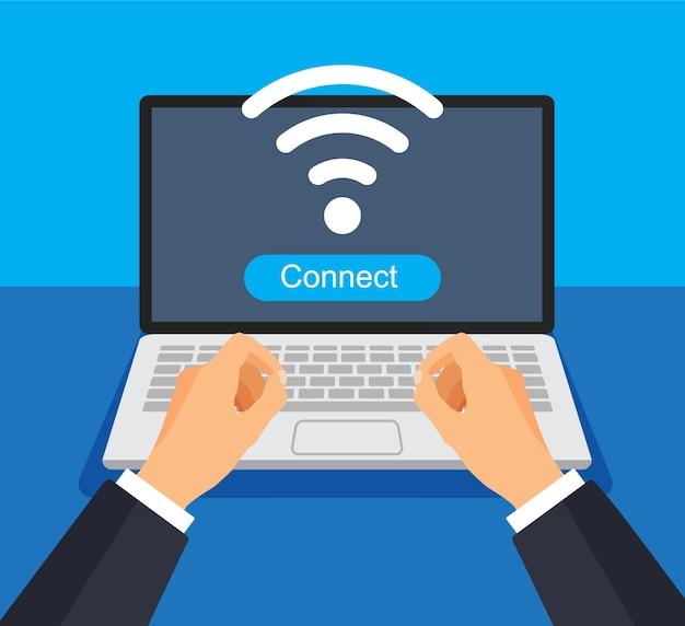 El hombre de negocios trabaja en la computadora y se conecta a wi fi. señal wifi en una pantalla. concepto de internet.