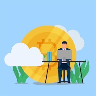 El hombre de negocios trabaja en el escritorio con una gran moneda criptográfica detrás de la metáfora de la criptomoneda.