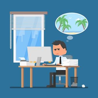 Hombre de negocios trabajando duro y soñando con vacaciones en una ilustración de playa