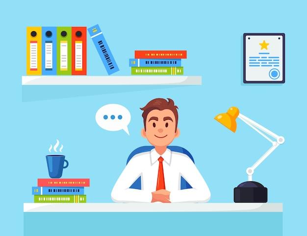 Hombre de negocios trabajando en el escritorio.