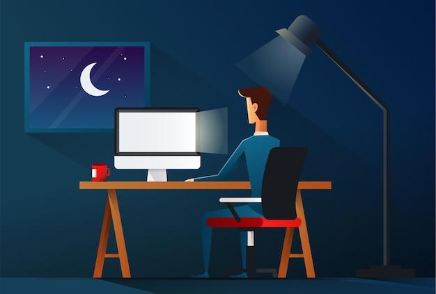 Hombre de negocios trabajando tarde en la noche ilustración.