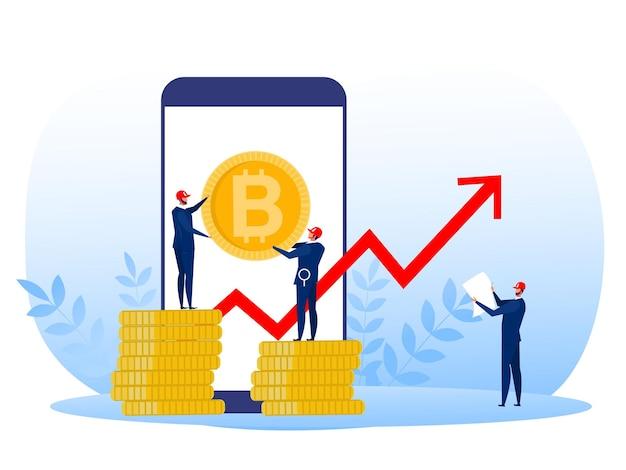 Hombre de negocios en un traje con ilustración de concepto de crecimiento de tasa de bitcoin en estilo plano