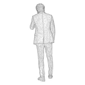 Hombre de negocios en un traje de negocios de pie y hablando por teléfono inclinando ligeramente la cabeza