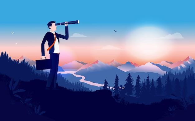 Hombre de negocios en traje de pie al aire libre con binoculares para buscar oportunidades