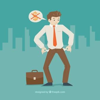 Hombre de negocios triste con los bolsilos vacios