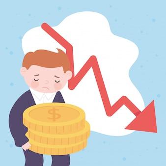 Hombre de negocios triste de quiebra con monedas y crisis financiera empresarial flecha hacia abajo